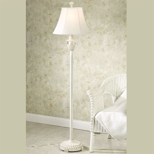 Perfect Sand And Shell Whitewash Floor Lamp Each With CFL Bulb