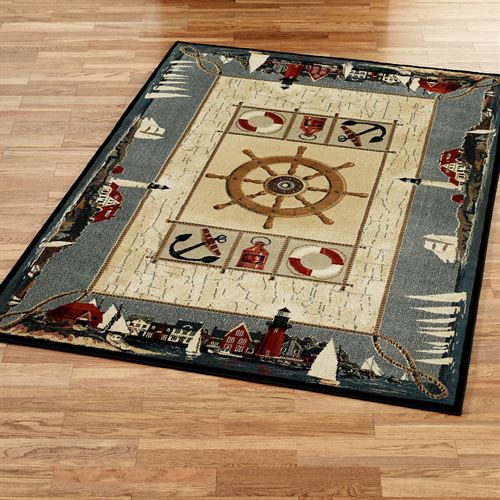 Seascape Rectangle Rug Dark Blue