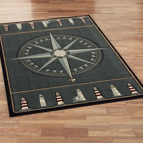 Compass Rose Rectangle Rug Grey Denim