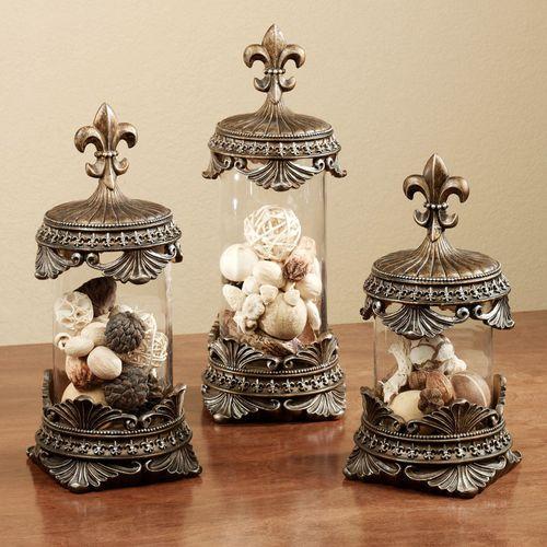 Fleur De Lis Decorative Jar Set