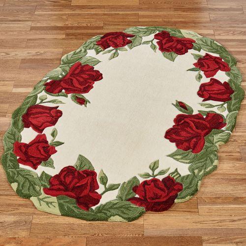 Regal Rose Oval Rug Cream 36 x 56 Oval