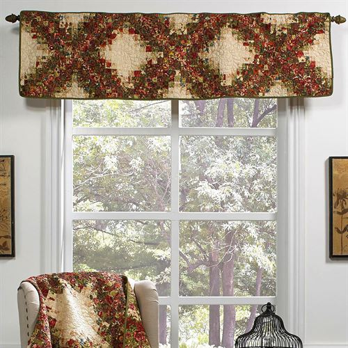 Watercolor Irish Chain Quilted Tailored Valance Multi Warm 55 x 15