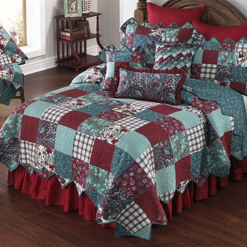 Abilene Patch Gathered Bedskirt Red