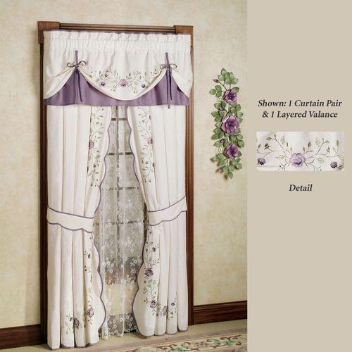 Vintage Bloom Layered Valance Pearl 60 x 18