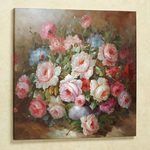 Romantic Floral Bouquet Canvas Wall Art Multi Warm