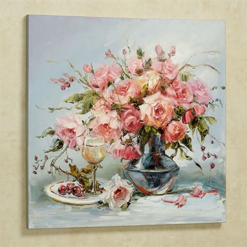 Blooms of Pink Canvas Wall Art Multi Pastel