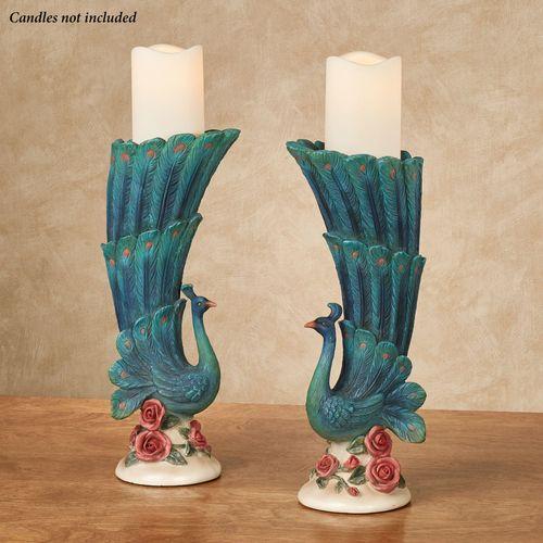 Peacock Garden Candleholders Blue/Green Pair