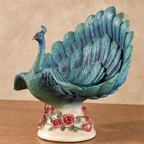 Peacock Garden Decorative Centerpiece Bowl Blue/Green