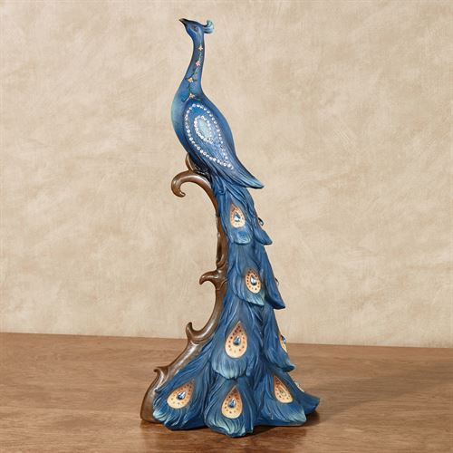 Elegant Peacock Jeweled Sculpture Blue