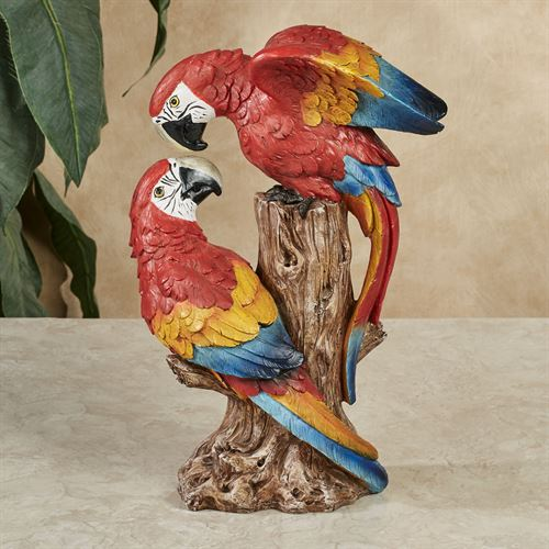 Parrot Lovebirds Table Sculpture Red