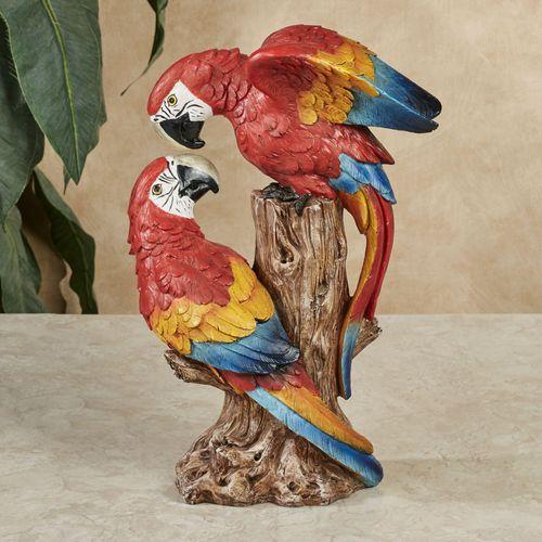 Parrot Lovebirds Table Sculpture Red