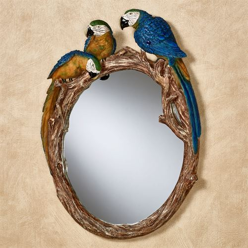 Parrot Gathering Blue Macaw Tropical Wall Mirror