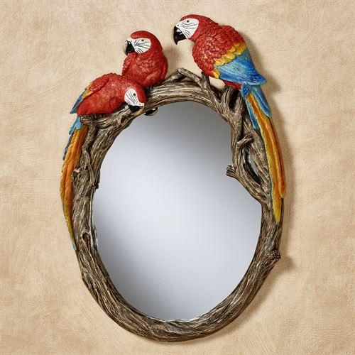 Parrot Gathering Wall Mirror Red