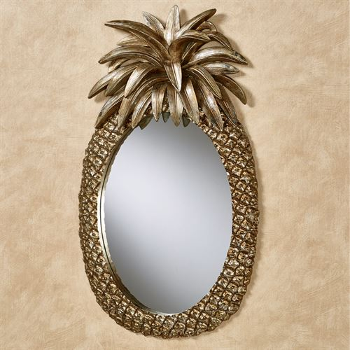 Pineapple Grandeur Oval Wall Mirror Light Gold