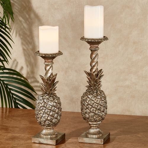 Pineapple Grandeur Candleholders Light Gold Set of Two