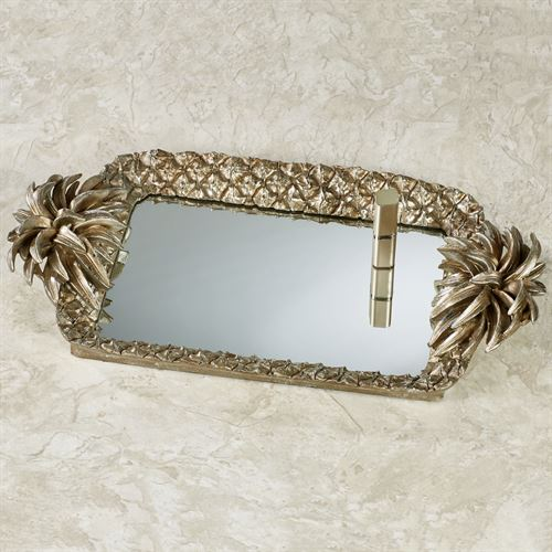 Pineapple Grandeur Mirrored Vanity Tray Light Gold