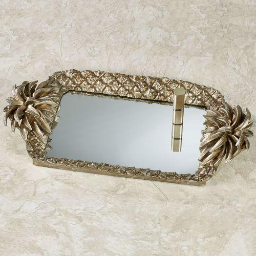 Pineapple Grandeur Mirrored Vanity Tray Light Gold