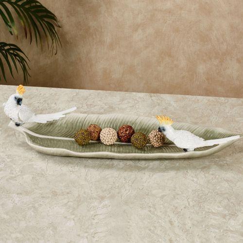 Cockatoo Palm Leaf Decorative Tray White