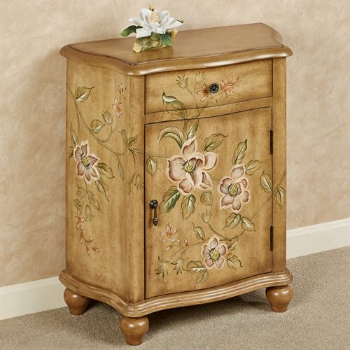 Magnificent Magnolias Storage Cabinet Antique Oak
