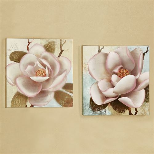 Blooming Magnolias Canvas Wall Art Multi Cool Set of Two