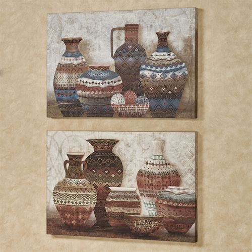 Painted Pottery Canvas Wall Art Multi Warm Set of Two