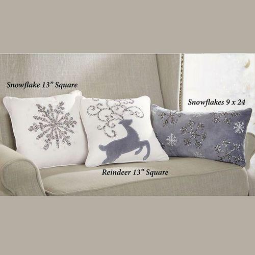 Beaded Snowflake Pillow Off White 13 Square