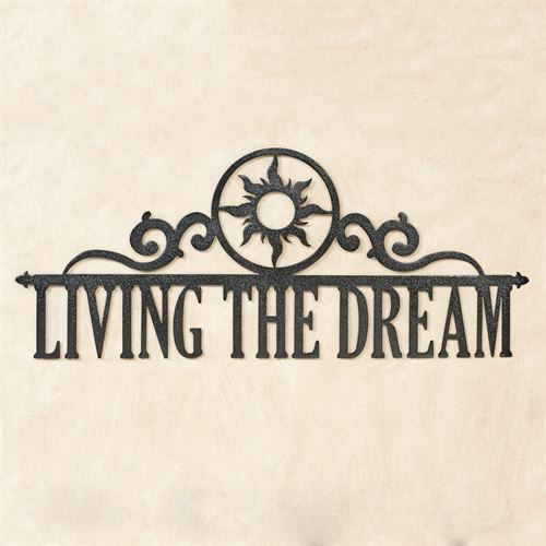 Living the Dream Wall Art Sign Black