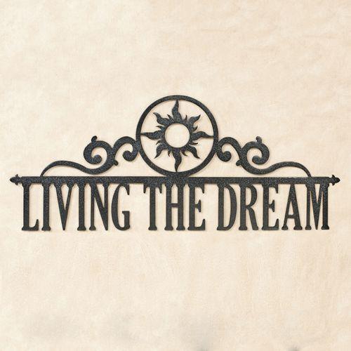 Living the Dream Wall Art Sign Black