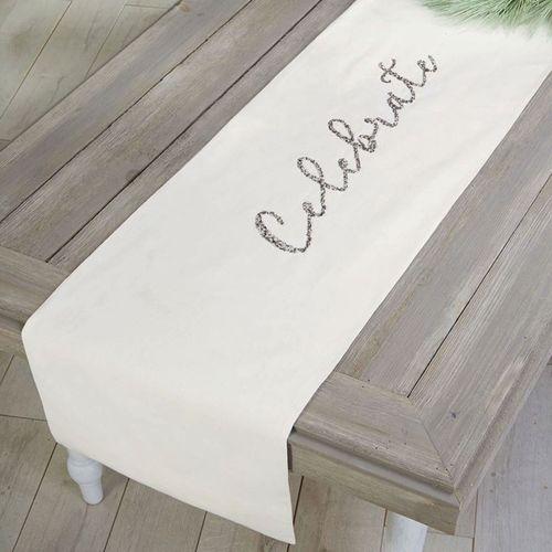 Celebrate Table Runner Off White 18 x 72
