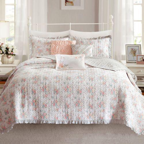 Serena Coverlet Bed Set Coral Pink