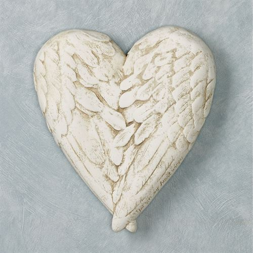 Angel Wings Heart Wall Plaque Antique White