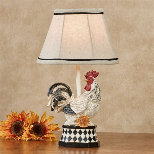 Resting Rooster Accent Lamp Black/White