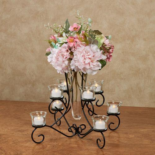 Brilliant Centerpiece Vase in Stand Black