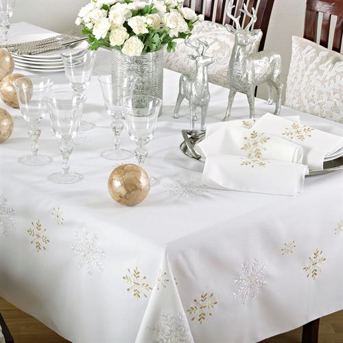 Touch of Gold Tablecloth Ivory