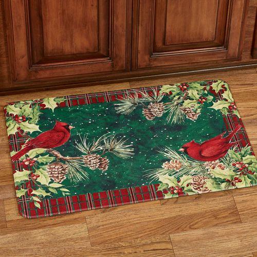 Cardinal Wreath Cushioned Floor Mat Green 30 x 20