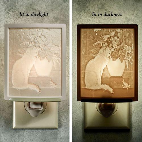 Cat with Flowers Nightlight Light Cream