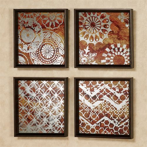 Kinsley Framed Mirrored Wall Art Multi Earth Set of Four