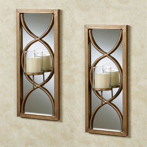Anderson Mirrored Wall Sconce Pair Antique Gold