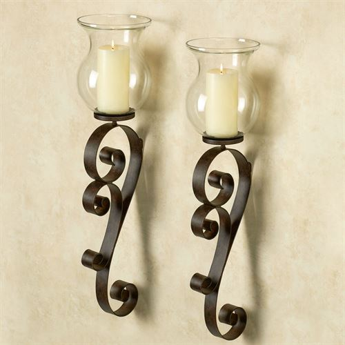 Bradock Wall Sconces Rustic Brown Pair