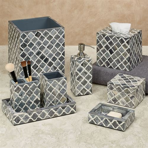 Marrakesh Moroccan Style Lattice Bath Accessories Lotion Soap Dispenser Gray