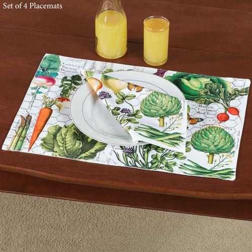 Vegetable Kingdom Placemats Multi Warm Set of Four