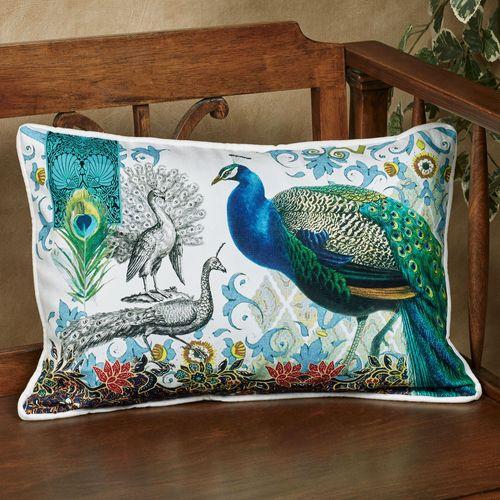 Bohemia Peacock Rectangle Decorative Pillow Multi Jewel 18 x 12
