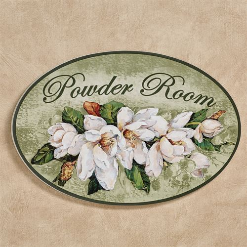 Magnolia Floral Powder Room Wall Plaque Green