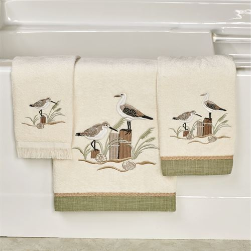 Sea Birds Embroidered Coastal Bath Towel Set
