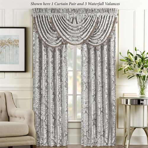 Bel Air Wide Tailored Curtain Pair Silver 100 x 84