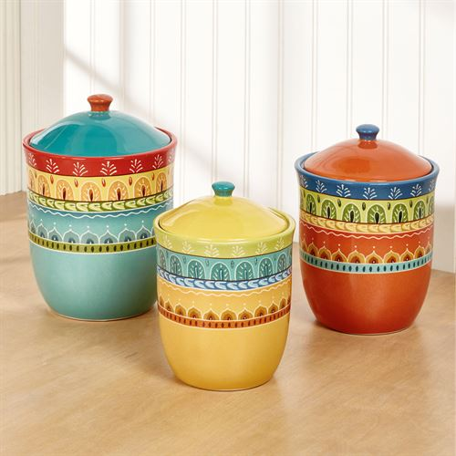 Merveilleux Valencia Kitchen Canisters Multi Jewel Set Of Three