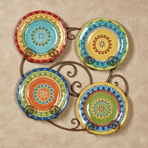 Valencia Dessert Plates Multi Jewel Set of Four  sc 1 st  Touch of Class & Valencia Colorful Ceramic Dessert Plate Set