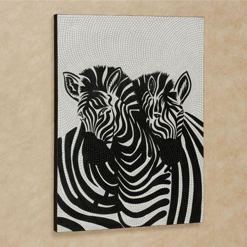 Adoring Zebra Canvas Wall Art Black/White