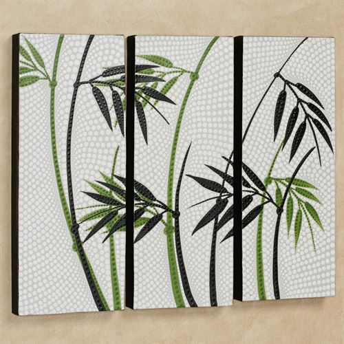 Bamboo Trees Triptych Canvas Wall Art Black/White Set of Three