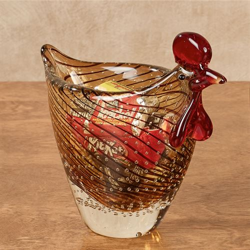 Hen Art Glass Bowl Brown Hen